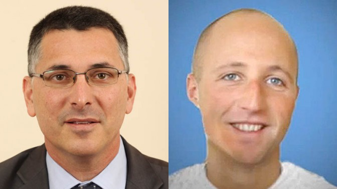 מימין: בן זיגייר (האסיר x) ושר החינוך גדעון סער (צילומים: הטלוויזיה האוסטרלית ופלאש 90)