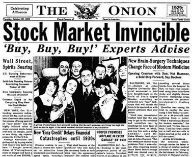 """שער העיתון """"The Onion"""" מה-22 באוקטובר 1929"""