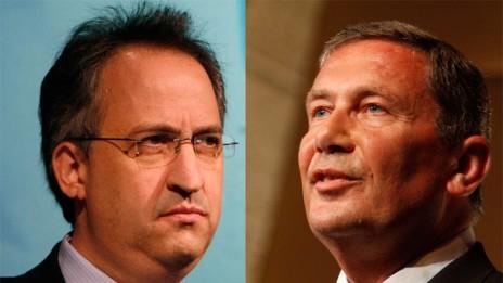 """איש העסקים נוחי דנקנר (מימין) ועורך """"דה-מרקר"""" גיא רולניק (צילומים: מרים אלסטר)"""