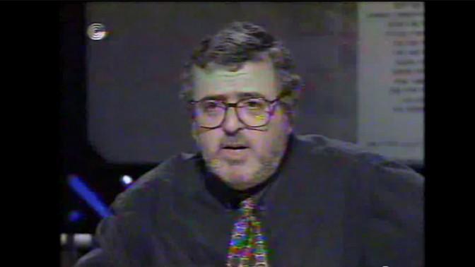 """אמנון דנקנר בתוכנית """"פופוליטיקה"""" בערוץ הראשון, 1995 (צילום מסך)"""