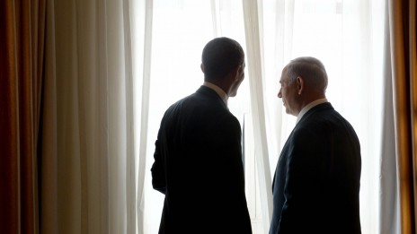 """ראש הממשלה בנימין נתניהו ונשיא ארה""""ב ברק אובמה בעת ביקורו של האחרון בישראל, 22.3.13 (צילום: אבי אוחיון, לע""""מ)"""