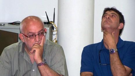 """זליג רבינוביץ' (מימין) ויוני בן-מנחם, 27.6.12 (צילום: """"העין השביעית"""")"""