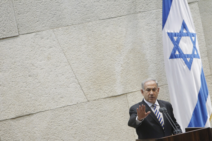 ראש הממשלה נתניהו נואם אתמול בכנסת (צילום: מרים אלסטר)