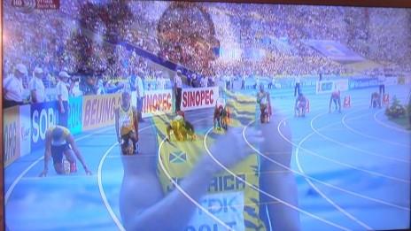 שידורי אליפות העולם באתלטיקה בערוץ 1 (צילום מסך)