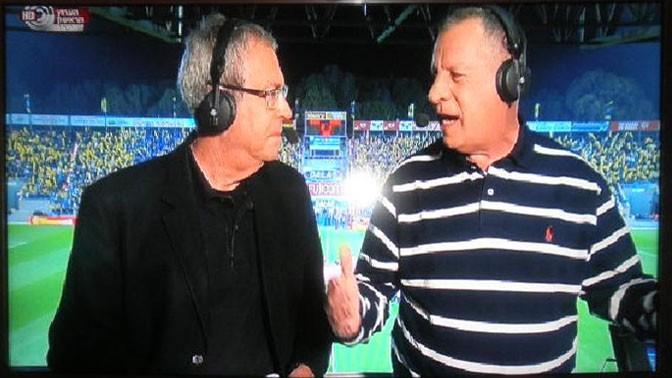 דני נוימן (מימין) ויורם ארבל משדרים משחק בערוץ הראשון (צילום מסך)
