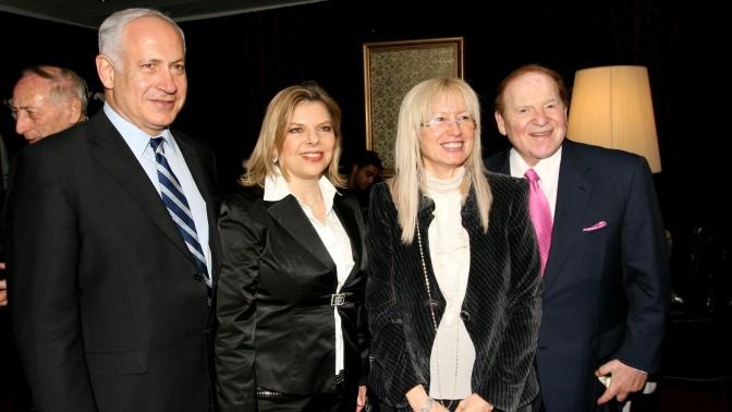 אדלסון ורעייתו, מרים, עם בנימין נתניהו ורעייתו שרה בירושלים, 13.5.2008 (צילום: אנה קפלן)