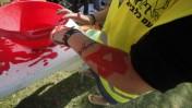 פעיל המתנגד לשחרור אסירים פלסטינים טובל את ידיו בצבע אדום במסגרת מחאה אתמול בתל-אביב נגד השחרור (צילום: פלאש 90)