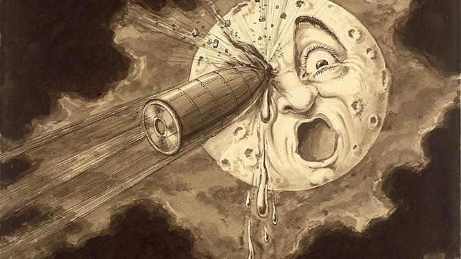 Le voyage dans la lune, en plein dans l'oeil!!. איור: ז'ורז' מלייס (נחלת הכלל)