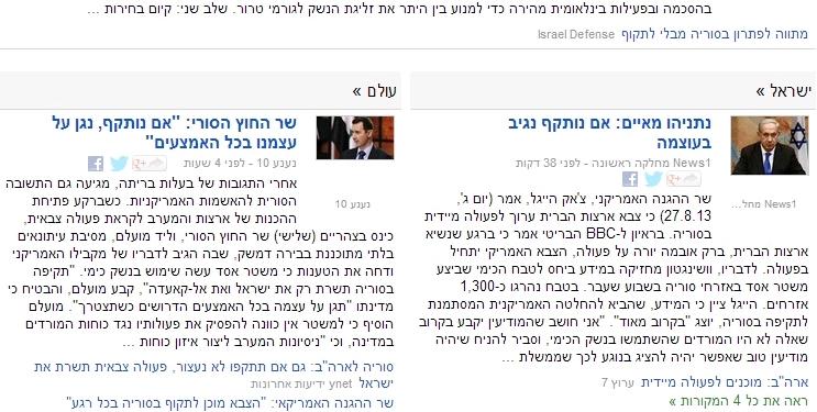 ישראל מול סוריה בגוגל ניוז, 27.8.2013