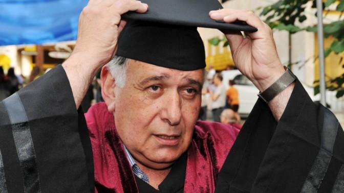 ראש עיריית חיפה יונה יהב בטקס קבלת תוארי דוקטור באוניברסיטת חיפה, 29.5.13 (צילום: שי לוי)