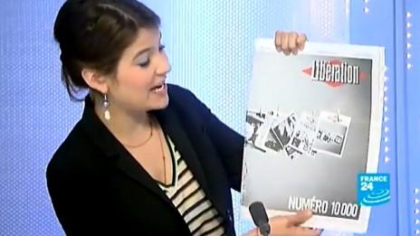 """9 ביולי 2013: גיליון מס' 10,000 של """"ליברסיון"""" מוצג במהדורת החדשות של רשת פראנס 24 (צילום מסך)"""