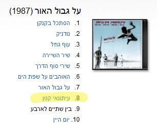 """""""על גבול האור"""", 1987 (צילום מסך: אתר שירונט)"""
