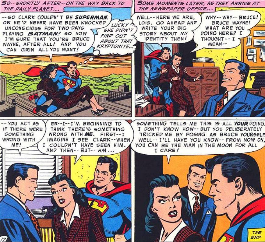 """סופרמן קורץ לקוראים. """"World's Finest  #71"""", יולי 1954"""