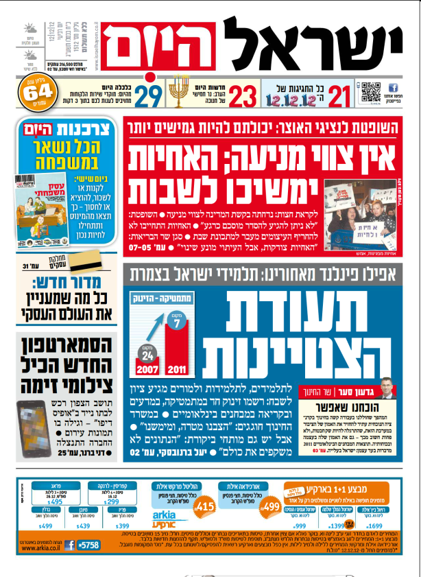 """שער """"ישראל היום"""", 12.12.12"""