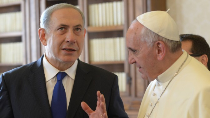 """ראש הממשלה בנימין נתניהו והאפיפיור, היום בותיקן, 2.12.13 (צילום: עמוס בן גרשום, לע""""מ)"""