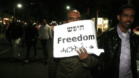 הפגנה מבקשי מקלט בתל-אביב. 28.12.13 (צילום: רוני שיצר)
