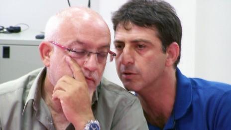 """העוזר הבכיר למנכ""""ל רשות השידור זליג רבינוביץ' (מימין) והמנכ""""ל יוני בן-מנחם (צילום: """"העין השביעית"""")"""