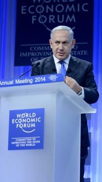 """ראש הממשלה בנימין נתניהו בפורום הכלכלי בדאבוס, שווייץ, 23.1.14 (קובי גדעון, לע""""מ)"""
