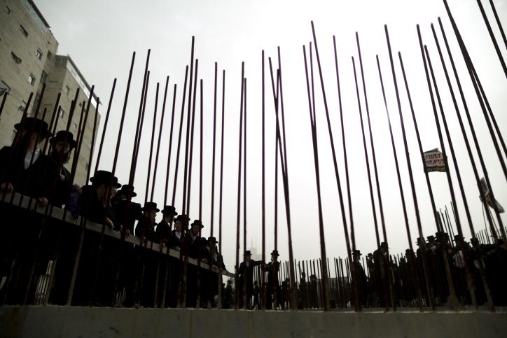 הפגנת חרדים נגד חוק הגיוס, ירושלים, 2.3.14 (צילום: יונתן זינדל)