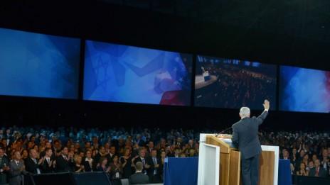 """ראש הממשלה בנימין נתניהו נואם בפני ועידת אייפא""""ק, 4.3.14 (צילום: אבי אוחיון, לע""""מ)"""