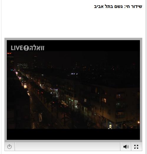 """""""שידור חי: גשם בתל-אביב"""". """"וואלה"""", 9.3.14"""