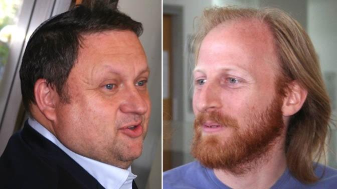 """מו""""ל """"מעריב"""" לשעבר שלמה בן-צבי (משמאל) ויו""""ר ועד עיתונאי """"מעריב"""" חגי מטר (צילומים: """"העין השביעית"""")"""