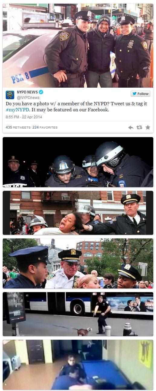 מתוך הטוויטר של משטרת ניו-יורק: הפנייה לגולשים לשתף תמונות שלהם עם שוטרים ודוגמאות מהתמונות שפרסמו גולשים בתגובה