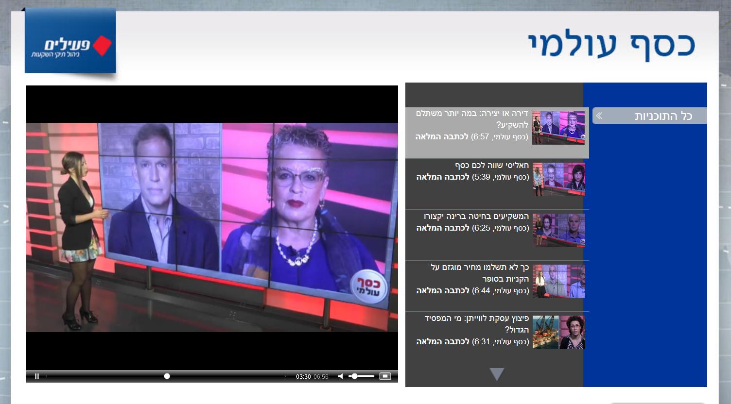 """ערוץ """"כסף עולמי"""" ב-ynet, הפועל בחסות בית-ההשקעות פעילים של בנק הפועלים (צילום מסך)"""