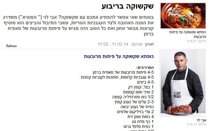 """שקשוקה על מצע פיתה מרובעת. מתוך מתכון שיווקי מטעם מאפיית ברמן, שהתפרסם בחתימת """"ynet"""" (צילום מסך)"""