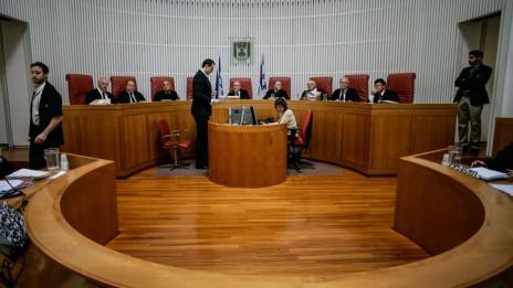 """דיון בבית-המשפט העליון בעתירה של ועדת המעקב העליונה של הציבור הערבי בישראל נגד """"חוק החרם"""", 16.2.14 (צילום: פלאש 90)"""