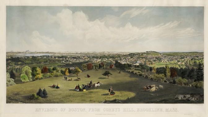 ברוקליין, מסצ'וסטס. 1864 (ציור: ריצ'רד פרימן, מאוסף הספרייה הציבורית של בוסטון)