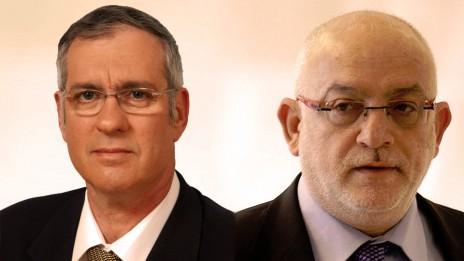 """מנכ""""ל רשות השידור יוני בן-מנחם (מימין) ומשה נסטלבאום (צילומים: דוברות רשות השידור ואורי לנץ)"""