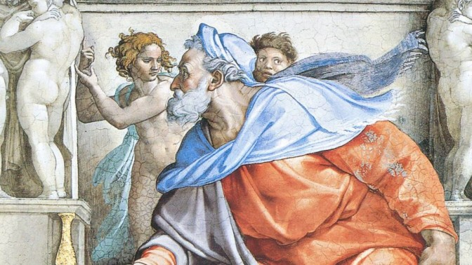 """מיכאלנג'לו בואונרוטי, """"יחזקאל"""", פרט מתקרת הקפלה הסיסטינית (1508–1512)"""