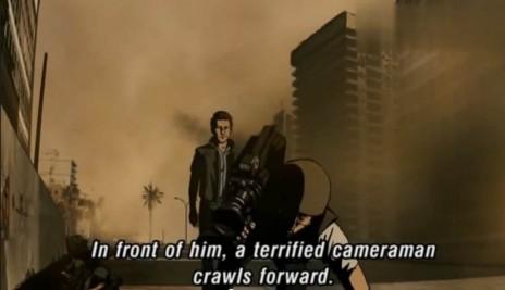 """דמותו המצוירת של רון בן-ישי (מאחור) ברחובות ביירות, בסרט """"ואלס עם באשיר"""" (צילום מסך)"""