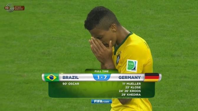 סיום משחק חצי הגמר ברזיל-גרמניה (צילום מסך: אתר המונדיאל של רשות השידור)
