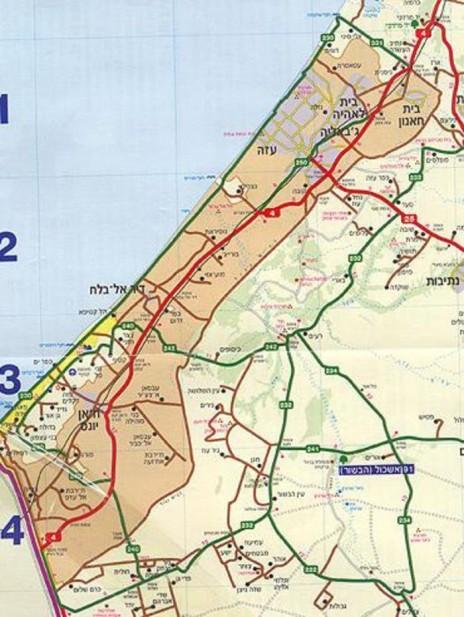 """המפה שפורסמה באתר """"וואלה"""", ובה ההתנחלויות הישראליות ברצועת עזה (לחצו להגדלה)"""