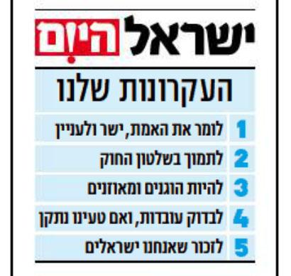 """""""העקרונות שלנו"""", המסגרת המתפרסמת בפתח כל גיליון של """"ישראל היום"""""""