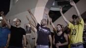 פעילי ימין מפגינים מול מחנה הקריה בתל-אביב בדרישה לפעולה תקיפה בעקבות רצח הנערים החטופים, 1.7.14 (צילום: תומר נויברג)