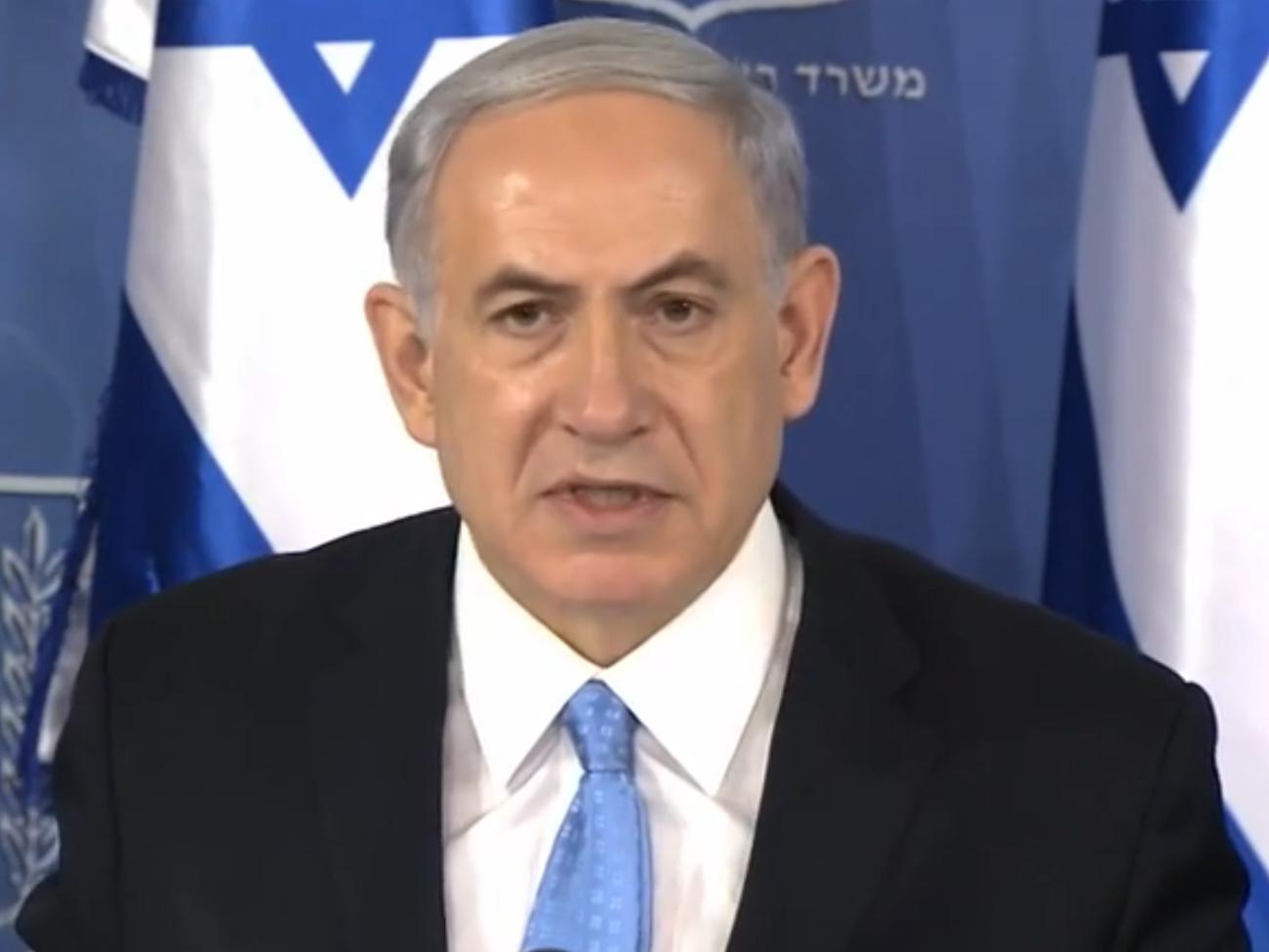 """ראש ממשלת ישראל, בנימין נתניהו, במסיבת העיתונאים שבה סיכם את מבצע """"צוק איתן"""". 2.8.14 (צילום מסך)"""