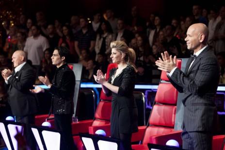"""מנחי העונה הראשונה של """"The Voice"""", רמי קלינשטיין, אביב גפן, שרית חדד ושלומי שבת. נווה-אילן, 31.3.12 (צילום: יונתן זינדל)"""