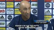 מאמן מכבי תל-אביב פאקו אייסטרן במסיבת עיתונאים, היום בבוקר (צילום מסך: ערוץ הספורט)
