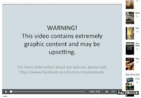 אזהרה לפני הפעלת סרטון עריפת ראש בפייסבוק, 2013