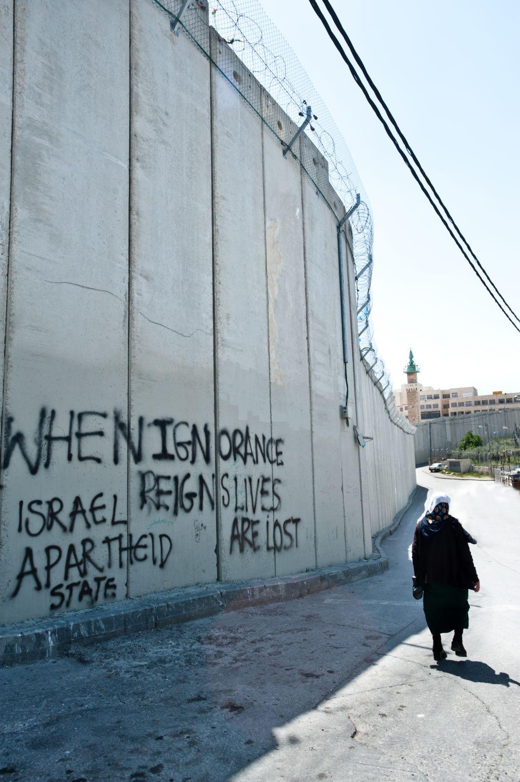 """גרפיטי נגד """"אפרטהייד"""" מרוסס על חומת ההפרדה במזרח ירושלים, 2011 (צילום: Ryan Rodrick Beiler / Shutterstock.com)"""
