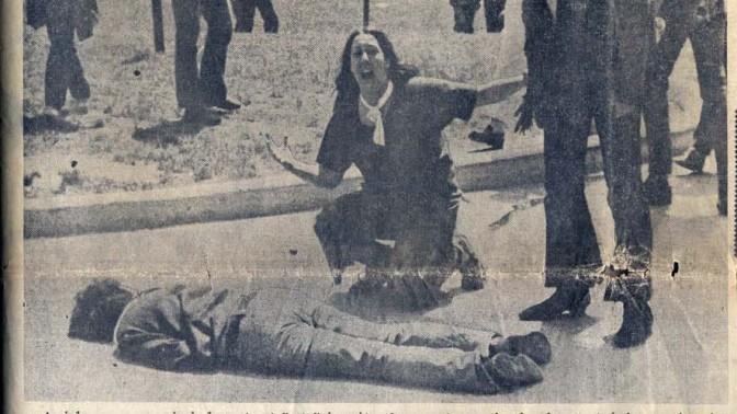 התמונה המפורסמת זוכת פרס הפוליצר המתעדת את הטבח באוניברסיטת קנט, על שער אחד העיתונים האמריקאים שדיווחו על האירוע. הירי הקטלני של חיילי המשמר הלאומי על הסטודנטים נחשב לאחד האירועים המכוננים בהיסטוריה האמריקאית של ההתערבות בווייטנאם (צילום: ג'ון פילו)