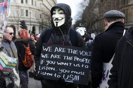 הפגנה נגד שחיתות שלטונית, לונדון, 1.3.14 (צילום: Elena Rostunova / Shutterstock.com)