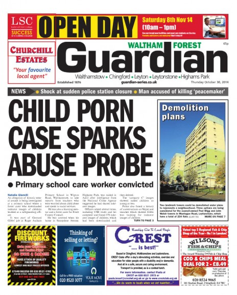 """""""וולטהם-פורסט גרדיאן"""", המקומון הפרטי היוצא ברובע וולטהם-פורסט בלונדון. שער הגיליון מה-30.10.14"""