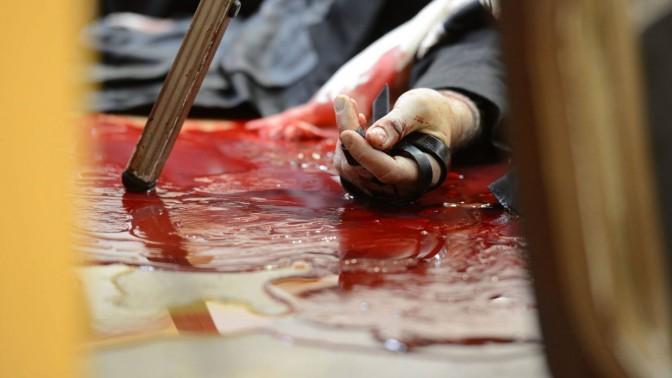 תמונה שהפיצה לשכת העיתונות הממשלתית לאחר הפיגוע בבית הכנסת בהר-נוף, 18.11.14 (צילום: קובי גדעון)