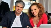 """אורלי וילנאי וגיא מרוז בצילום יחסי ציבור לתוכנית """"אורלי וגיא"""" בהגשתם (צילום: יוסי צבקר)"""