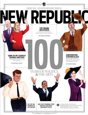 """שער גליון נובמבר 2014 של ה""""ניו-ריפבליק"""", החוגג 100 שנה להיווסדו"""