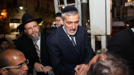 אלי ישי בכיכר ציון, ירושלים, 17.12.14 (צילום: יונתן זינדל)